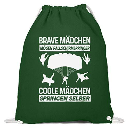 shirt-o-magic Fallschirmspringen: Coole Mädchen springen selber - Baumwoll Gymsac -37cm-46cm-Dunkelgrün