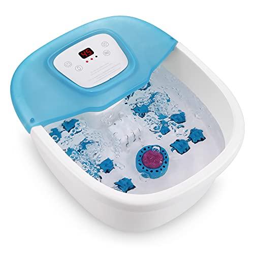 Masajeador de Baño de pies con Burbujas y Vibración, Piedra para Afilar Pedicura, 16 Rodillos de Acupresión y Masajeador de pies con Temperatura Controlada, Apto para uso Familiar