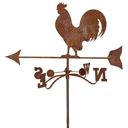 aubaho Girouette sur Pied - Motif Coq - Fer - Style Antique Rouille