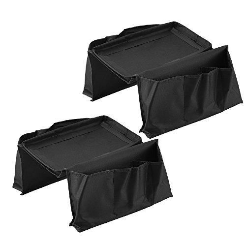 BIAOZH-2 Piezas de Moda Bolsa de Almacenamiento Multicapa, sofá sillones con Bolsillos amplios para los Brazos, Color Negro
