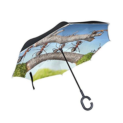XiangHeFu Double Layer seitenverkehrt Rückseite Regenschirme Ameisen Carry Log on Bridge Teamwork Faltbar Winddicht UV-Schutz Big Gerade für Auto mit C-Förmigem Henkel