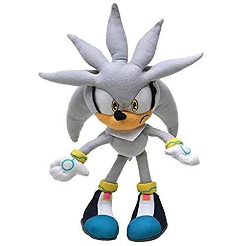 buyaoku Peluche de 30 cm Gris Sonic Plush Super Sonic Hedgehog Peluche Sonic Toy Sonic Tail Knuckle Shadow muñeco de Peluche Llavero