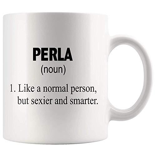 Theemok, Wit, Grappige Perla Definitie Idee Mok Aangepaste Naam Koffie Beker, Gepersonaliseerde 11oz Witte Koffie Mok