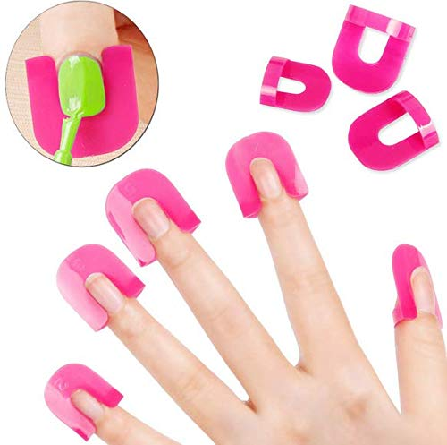 Onwon 26 Pcs (10 Sizes) Reusable Soft Plastic Nail Polish Stencil,Spill Proof Manicure Protector Tools