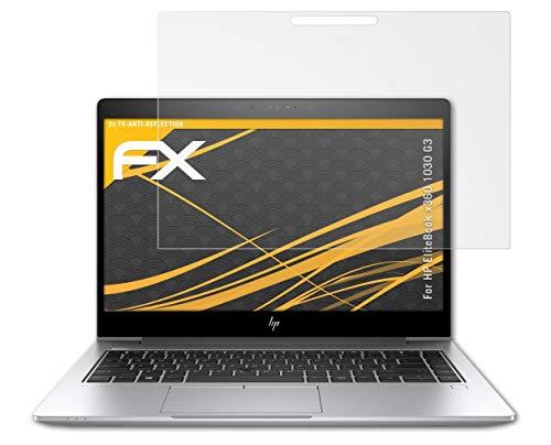 atFolix Panzerfolie kompatibel mit HP EliteBook x360 1030 G3 Schutzfolie, entspiegelnde & stoßdämpfende FX Folie (2X)