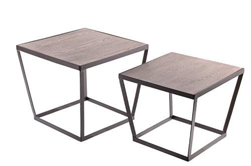 Sukima Decor Retro Cube Set de 2 Tables Basse, métal, Noir, 50 x 44 x 50 cm