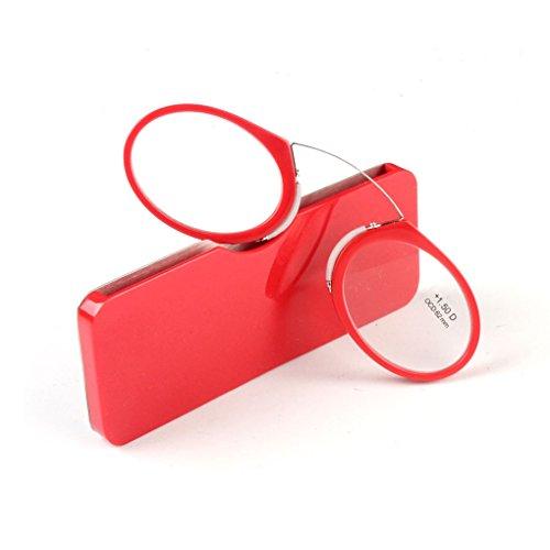Reading Glasses Folder Nose Type Reading Glasses Portable Watch TV Glasses Box for Women and Men (1.5, Red)
