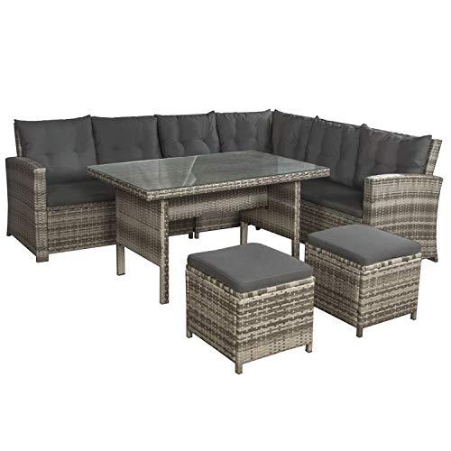 ArtLife Polyrattan Sitzgruppe Lounge Santa Catalina beige-grau – Gartenmöbel-Set mit Eck-Sofa & Tisch - bis 6 Personen - wetterfest & stabil