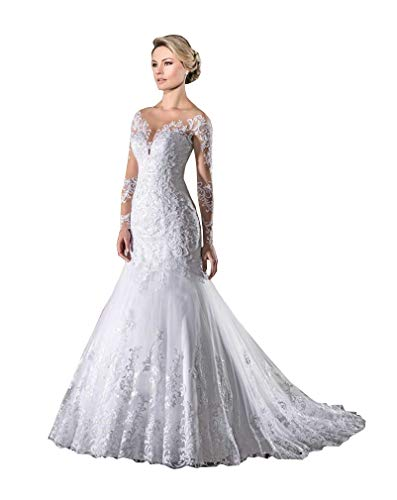 CGown Damen Illusion Langarm Meerjungfrau Brautkleid für Braut mit Zug Spitze Applikation Perlen Strand Brautkleid Gr. 34, weiß