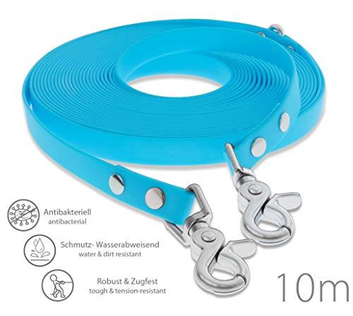 SNOOT Schleppleine 10m - Cyan-Blau - zugfeste, schmutz- und Wasserabweisende Hundeleine mit Zwei Karabiner und D-Ring