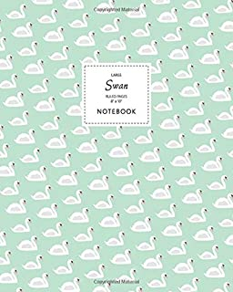 Swan Notebook - Ruled Pages - 8x10 - Large: (Pastel Green Edition) Fun bird notebook 192 ruled/lined pages (8x10 inches / ...