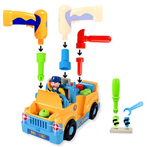WolVol Truck Tools Toy Equipped with Electric Drill and Various Tools, Lights and Music, Bump and Go Action, will go by its own and change directions on contact