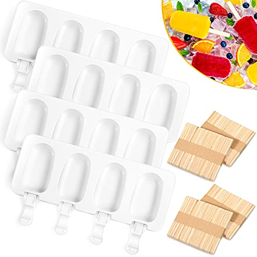 Perthlin 4 Pieces Ice Cream Mould Popsicle Mold Silicone Ice Cream Mold 4-Cavity Cake Pop Molds Baking Molds with 200 Pieces Sticks for Homemade Treats