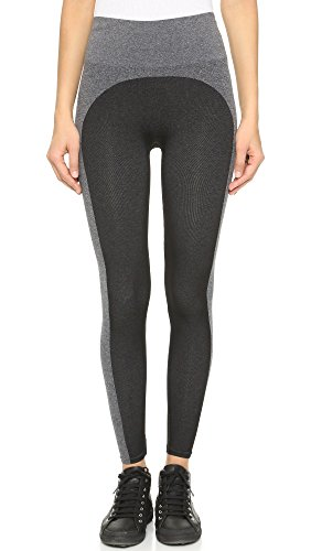 SPANX Women's Marled Seamless Leggings, Black/Heather, Medium