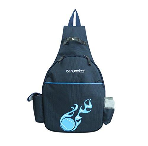 Klau Nylon Tennis Racquet Backpack Tennis Racket Equipment Bag Outdoor Sports Bag Dark Blue for Children Teenagers Tennis Beginners