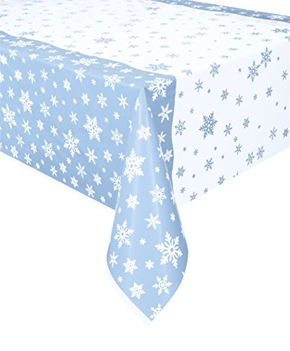 Unique Party 51004 - Plastic Snowflake Christmas Tablecloth, 7ft x 4.5ft