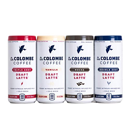 La Colombe Draft Latte Variety Pack - 9 Fluid Ounce, 12 Count - Core Flavors: Triple, Vanilla, Double, Mocha - Made With Real Ingredients - Grab And Go Coffee