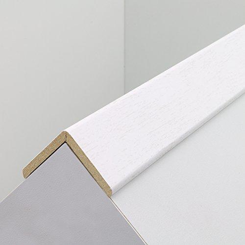 Winkelleiste Tapeten-Eckleiste Schutzwinkel Winkelprofil Abschlussleiste Abdeckleiste aus MDF in Weiße Eiche 2600 x 32 x 32 mm - NEU!