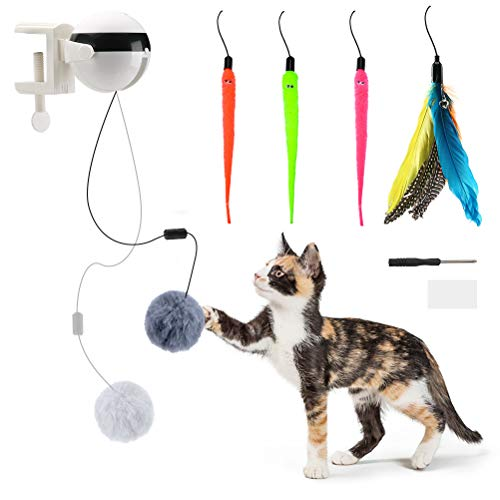 KOOLTAIL Automatic Interactive Cat Toys - Cat Teaser Ball with 4 Refills - Cat Plush Toy & Feather Toy - Up and Down for Indoor Cats