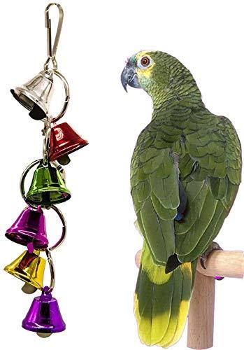 El Columpio de Aves Campanas del Metal del Anillo de Aves Chew Juguetes for Loros Puente Colgante al Azar Pequeño círculo, Color: Círculo Aleatorio Grande JXNB (Color : Random-Small Circle)