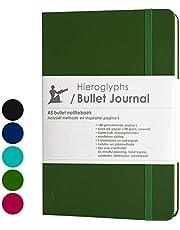 Hieroglyphs Bullet Journal/notitieboek A5 dotted - met Nederlandstalige methode - genummerde pagina's, opbergvak, drie leeswijzers, elastieken sluiting (groen)