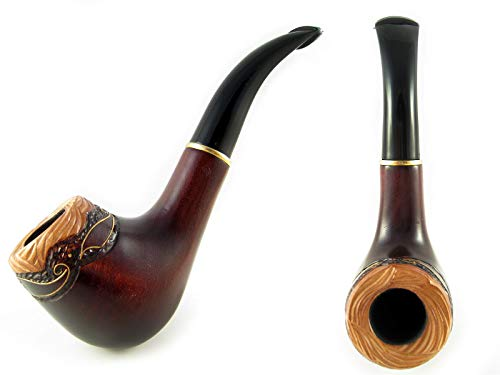 New Decorated Tobacco Smoking Pipe Carved Pear Root Wood