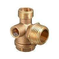 uxcell エアコンプレッサーチェックバルブ ブラス製 ゴールドトーン 圧縮機ピストンポンプ