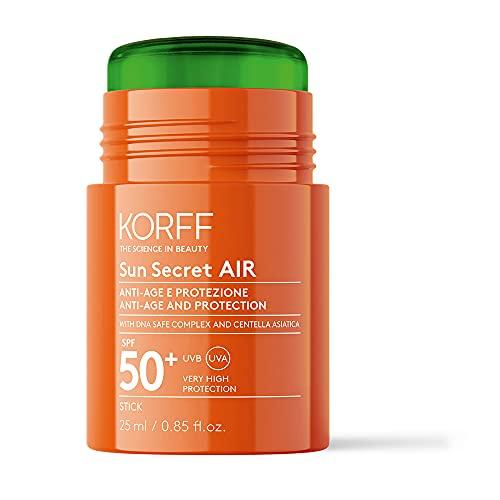 Korff Sun Secret Air Stick Spf50, Textura Leggera, Protezione Molto Alta Uvb e Uva, Idratante Ed Anti-Age, Resistente All'Acqua, Multicolore, 25 Ml (30 G)