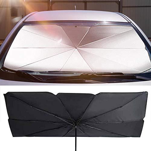 starte Auto Windschutzscheibe Sonnenschirm, Auto Regenschirm für Windschutzscheibe Sonnenschutz, Faltbarer Auto Sonnenschirm Block UV, einfach zu bedienen/zu lagern, 57 Zoll x 31 Zoll