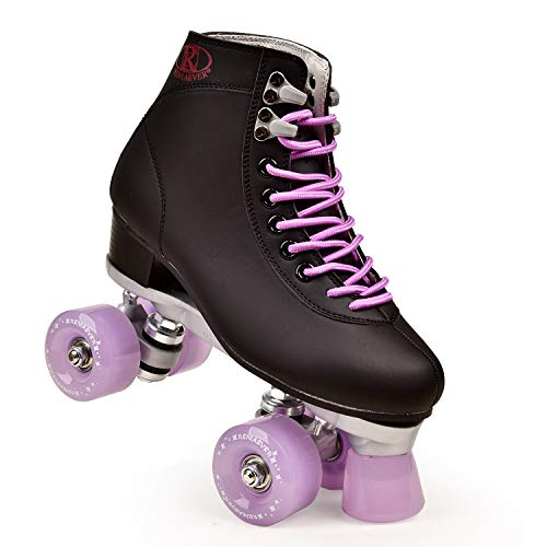 FHJKS Roller Skates for Women and Men Adjustable Classic Premium Roller Skates PU Leather High-top Roller Skates Four-Wheel Roller Skates for Indoor Outdoor (Lavender,9.5)