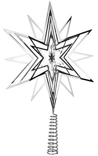 Riffelmacher Christbaumspitze Metall Stern 33cm 17859 - Silber