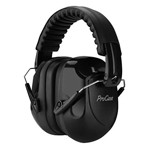 ProCase Casco Antiruido, Protector Auditivo SNR 34 dB Aislante de Ruido Profesional, Casco Insonorizado Protector de Oído para Campo de Disparo, Caza -Negro