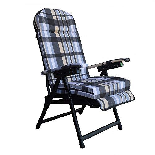 Sedia sdraio KETTYC in metallo con prolunga e cuscino imbottito (Grigio Scozia)