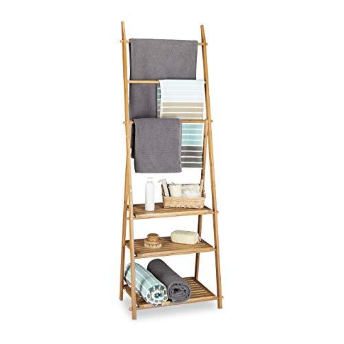 Relaxdays Handtuchhalter Bambus, Faltbar, kleiner Kleiderständer, 3 Ablagen, 3 Handtuchstangen, 4 seitliche Haken, HxBxT: 152 x 53 x 31 cm, Holz, natur