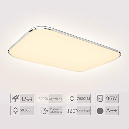Hengda Led Deckenleuchte Deckenlampe 96W Wohnzimmer Lampen für Bad, Küche, Schlafzimmer, Flur, Kinderzimmer, Büro, Warmweiss, IP44 Badezimmerlampe