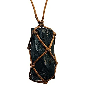 Raw Black Tourmaline Pendant Macarame Necklace