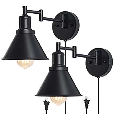 Plug in Wall Sconce, Swing Arm Wall Lamp, Black Vintage Industrial Wall Mounted Reading Light Fixture for Bedroom, Living Room, Doorway, Set of 2
