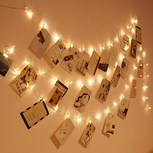 Photo Clip String Lights 17Ft, 50 LED Fairy String Lights with 50 Clear Clips for Hanging Pictures, Battery Operated, Birthday Party Best Dorm Bedroom Wall Decor Wedding Decorations