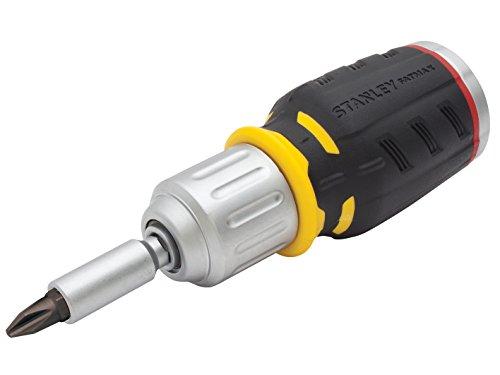 Stanley FatMax Bit-Schraubendreher (kurze Ausführung mit Ratsche und 6 Bits, SL5/6 mm;PH1/2;PZ1/2, 40 Zähne) FMHT0-62688