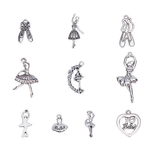 PandaHall Elite 60 Pezzi 10 Stile Charms Ballerina/Balletto Ballerino ciondoli pendanti Argento Antico Lega tibetana per Bomboniere Gioielli Fai da Te