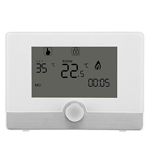 Fdit Termostato Digitale programmabile Display LCD per termostato per Sistema di Riscaldamento a Caldaia a Parete(White)