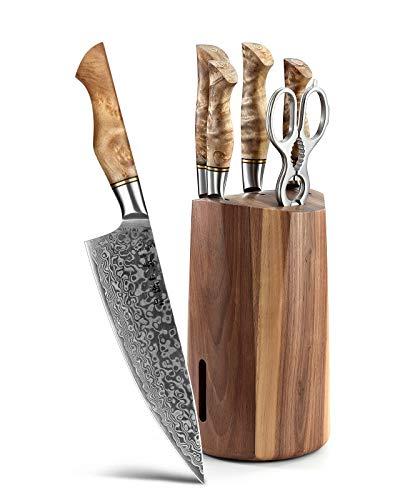 HEZHEN 7PCS Kitchen Knives Set Professional Forging Damascus High Carbon Steel Chef Knife Santoku Bread Knife Utility Knife Fruit Knife 3cr14 Multifunctional Kitchen Scissors 6Slot Black Walnut Block