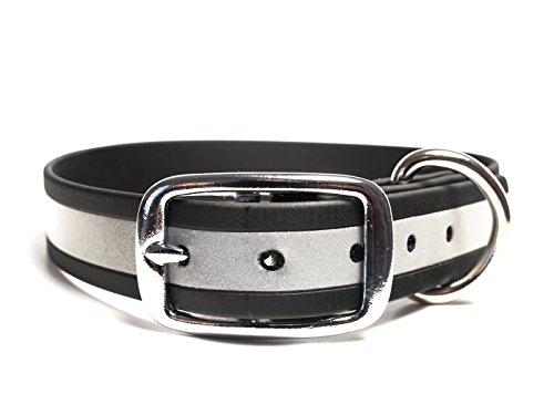 Mystique® Biothane Halsband deluxe beta reflex - Signalhalsband (50 - 58 cm, schwarz)