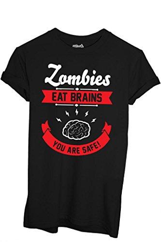 MUSH T-Shirt Zombies Cerveau The Walking Dead - Film by Dress Your Style - Homme-L Noir