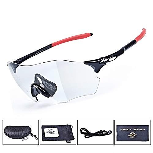 Lesrly-Cycle Gafas de Sol Deportivas fotocromáticas polarizadas sin Marco para Hombres, Mujeres, Gafas de Ciclismo con Correa Lente TAC con protección UV400 - Ciclismo/Conducción/Pesca