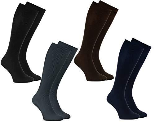 Rainbow Socks - Damen Herren Baumwolle Diabetiker Kniestrümpfe - 4 Paar - Schwarz, Braun, Dunkelblau, Graphit - Größen 42-43