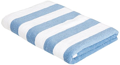 Amazon Basics - Toalla de playa, de rayas Cabana, color azul claro, pack de 1