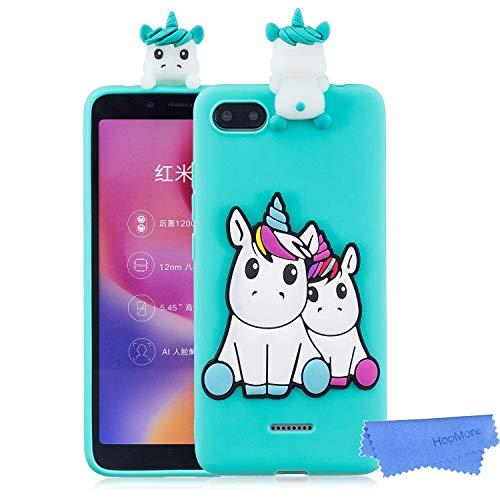 HopMore Cover per Xiaomi Redmi 6A Silicone Disegni 3D Panda Unicorno Divertenti Fantasia Gomma Morbido Custodia Antiurto Protettiva TPU Slim Case Bumper Caso Molle - Unicorno