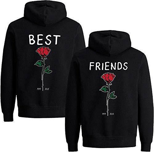 Beste Freunde Damen Hoodie für 2 BFF Best Friends Rose (Schwarz-Friend, XS)