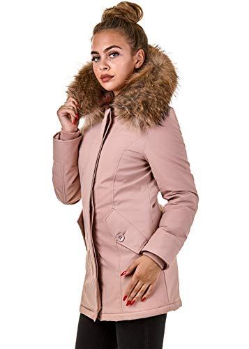 Damen Winterjacke Parka Echtfell Kapuze Schwarz Pink Creme Rot BR1828, Größe:L, Farbe:Stone Pink